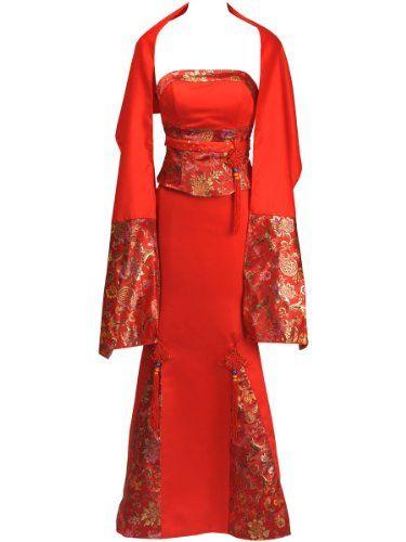 Amazon.com: Topwedding Red Satin Mermaid Cheongsam with Chinese Knot and Shawl: Clothing