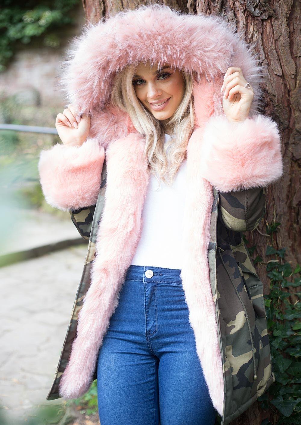 b0832fee2e5a6 Pink Faux Fur Hooded With Cuffs Full Fleece Parka Camo Khaki Green. Faux  Fur Parka, Parka Coat, Fur Coat, Parka Outfit, Khaki Coat,