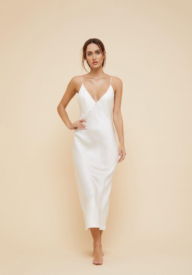 The Covetable Issa Ivory Luxury Silk Slip Dress Olivia Von Halle Slip Wedding Dress Silk Slip Dress White Slip Dress
