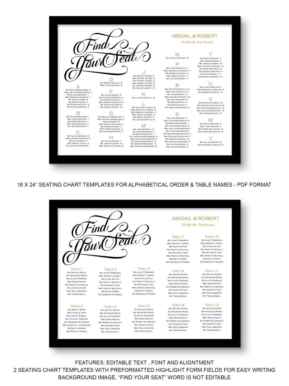 Wedding Seating Chart Template Printable Seating Chart Poster - Wedding invitation templates: seating chart template wedding