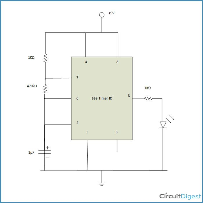 This Is The Simplest Circuit Using A 555 Timer Ic Which Turns On And