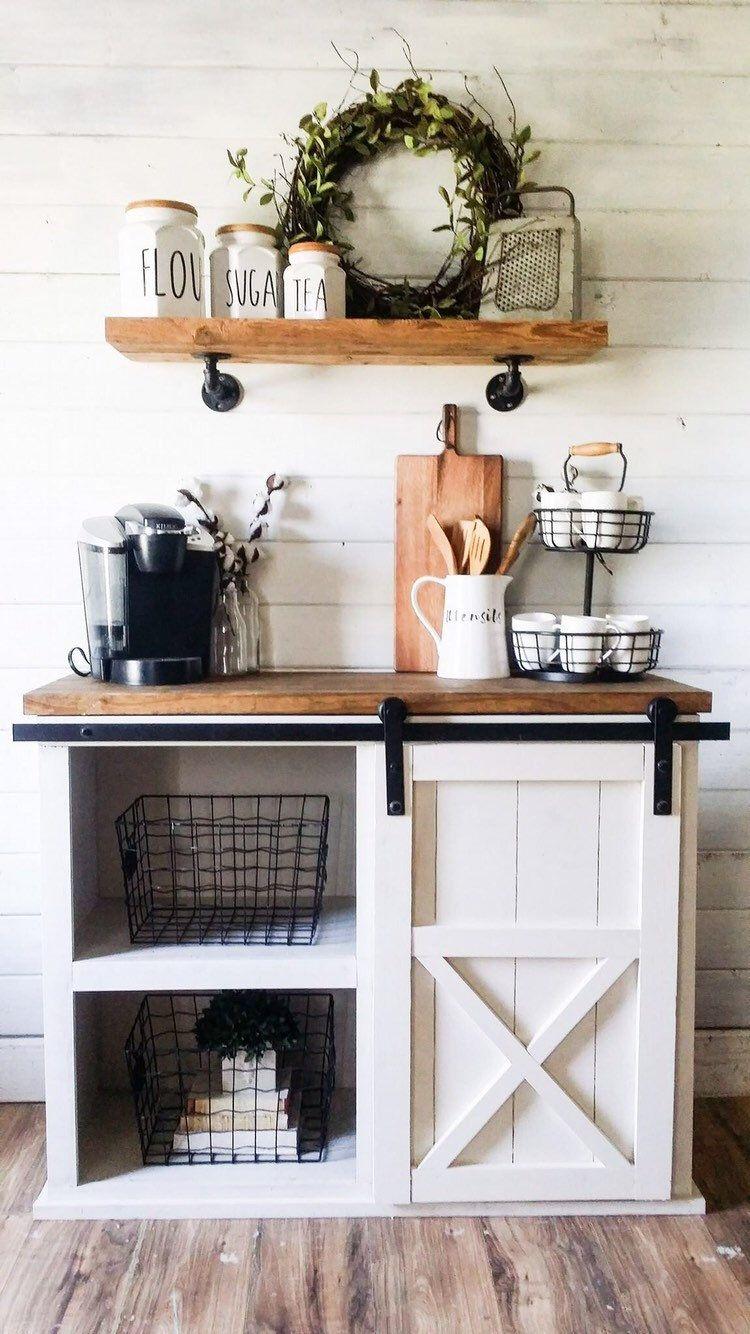 Farmhouse coffee bar, farmhouse vanity, farmhouse