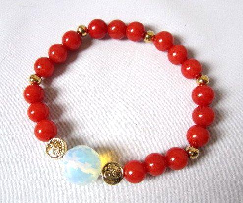 Red Agathe bracelet Yin Yang charms bracelet by Thingsfromtheheart