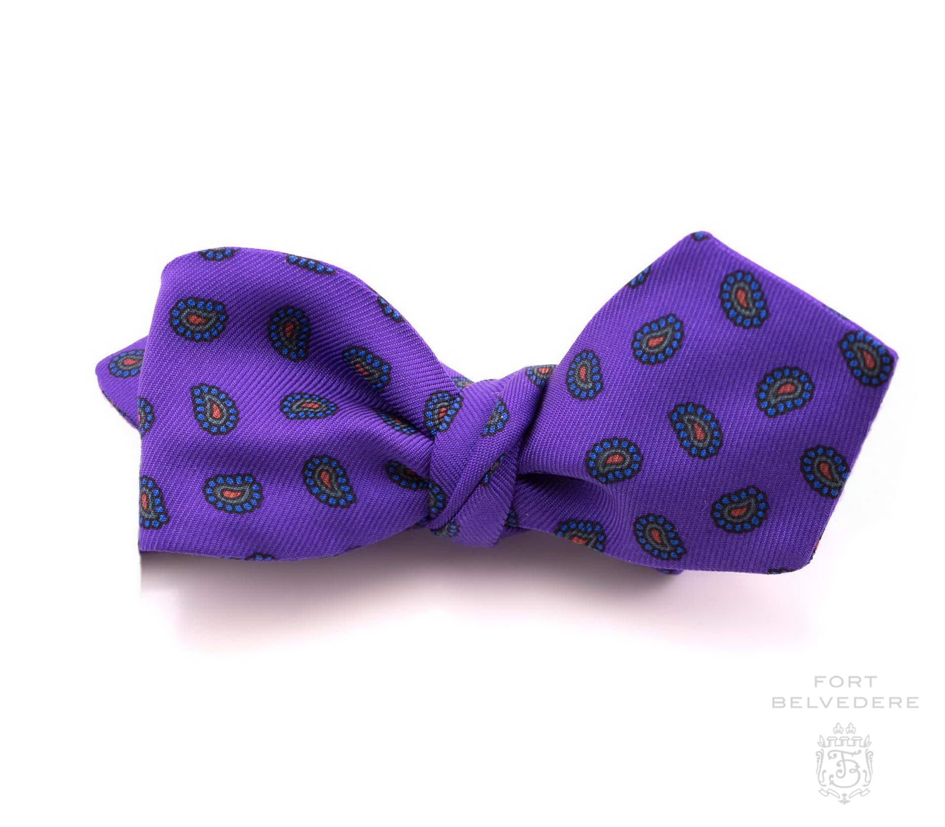 40facce172fe Ancient Madder Silk Bow Tie in Purple Paisley - Fort Belvedere | Bow ...