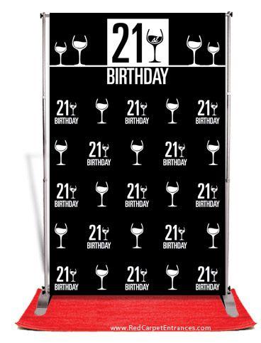 21st Birthday Backdrop Black 5x8 Birthday Backdrop