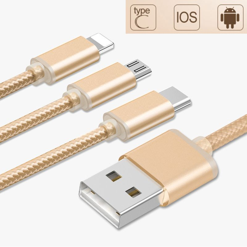 3 in 1 Type-C USB 3.1 + 8 Pin + Micro USB 2A Fast Charge Cable For ...