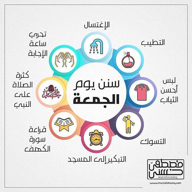 سنن يوم الجمعة انفوجرافيك جمعة مباركة Infographic Islam For Kids Islam Facts Learn Islam