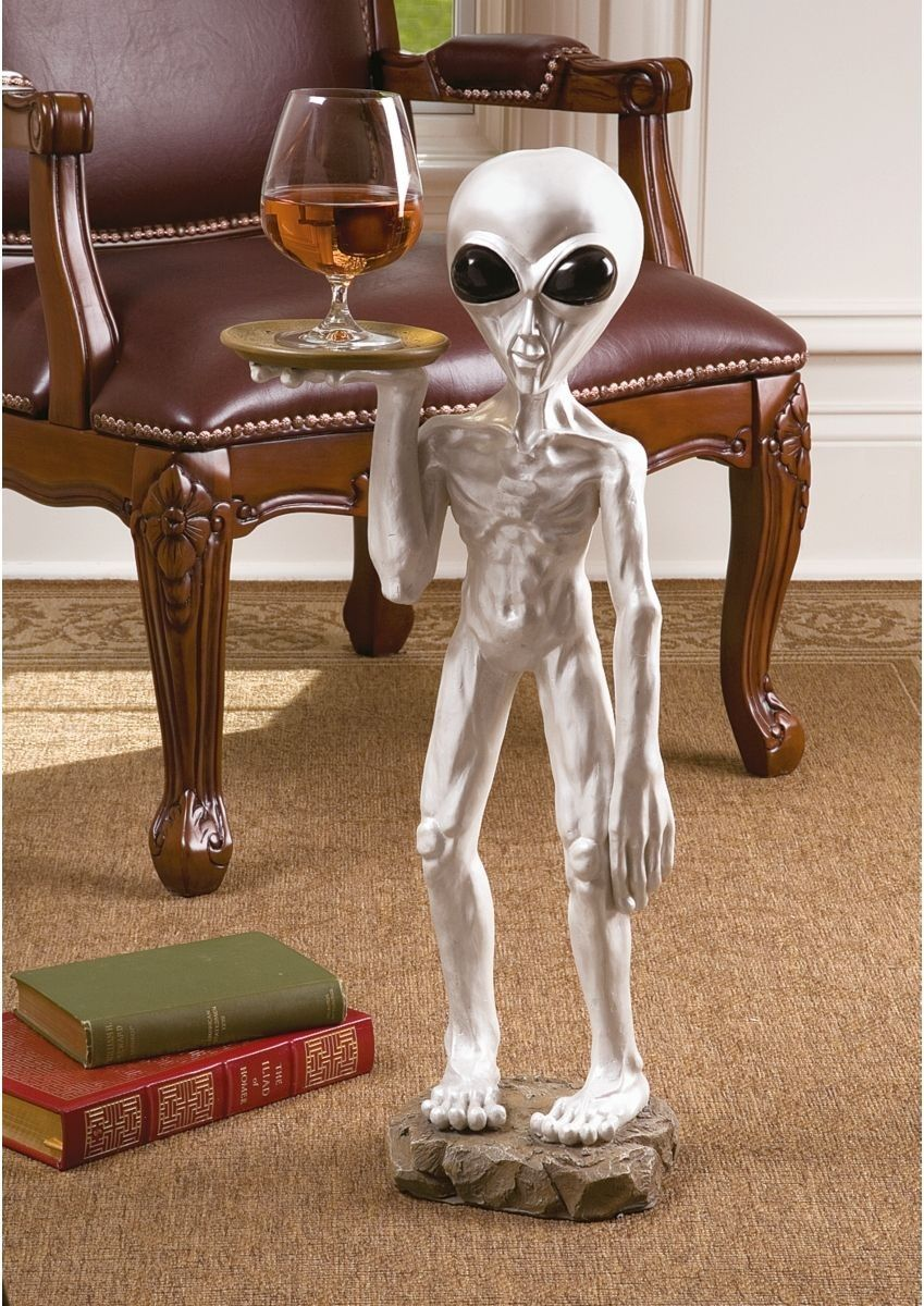 Alien Butler Statue Area 51 Roswell New Mexico ET with Tray Side Table