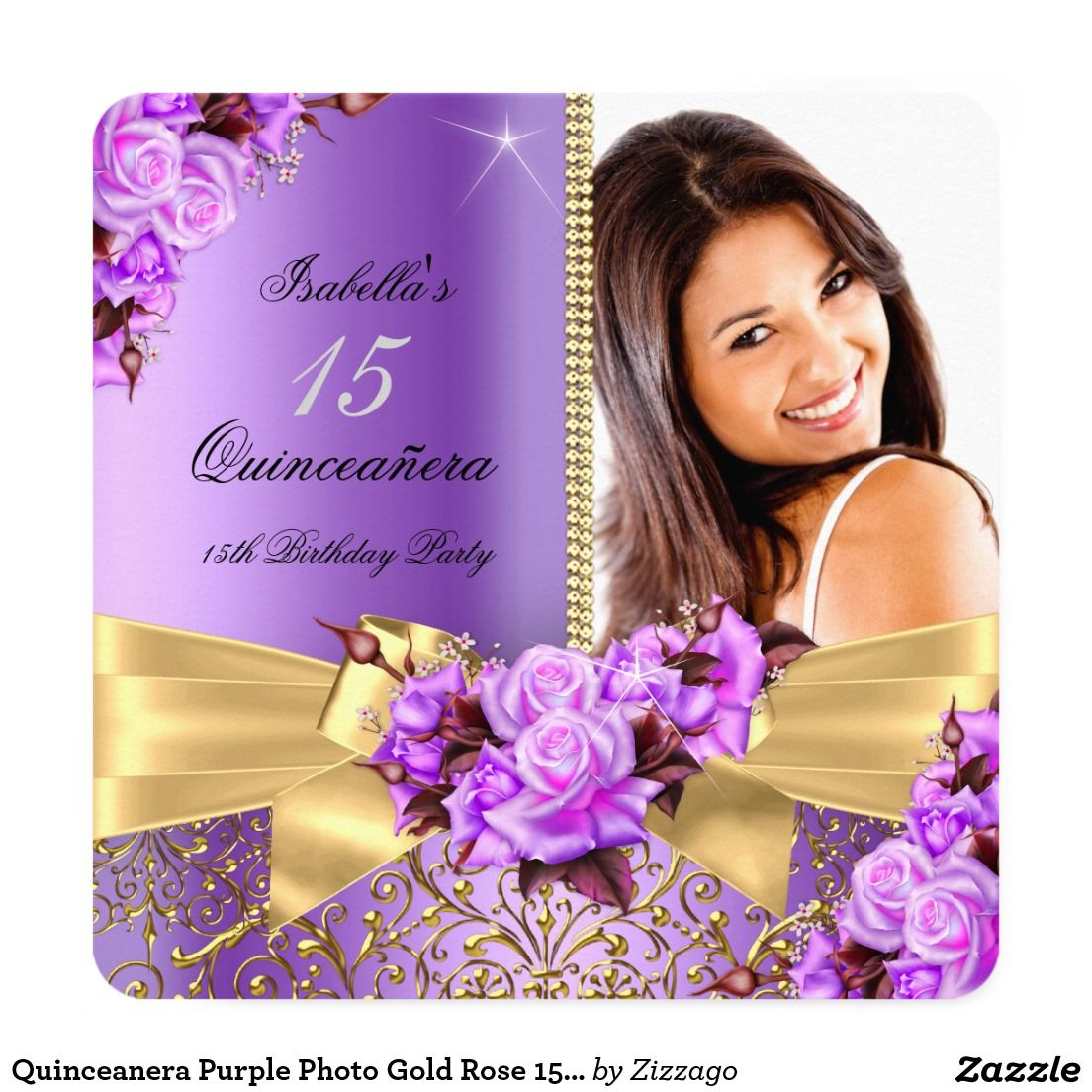 Quinceanera purple photo gold rose 15th birthday card 15th quinceanera purple photo gold rose 15th birthday card bookmarktalkfo Gallery