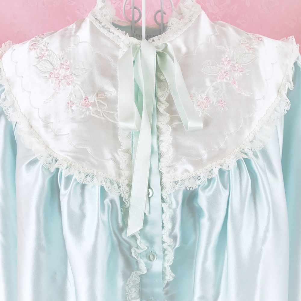 1713ee5ea Light Mint Green Nightgown with White Embroidered Collar – Cupidity vintage lingerie  sleepwear kawaii jfashion japanese fashion cute princess babydoll lace ...