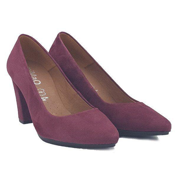 Zapato salón mujer tacón color vino burdeos cómodo Comfort