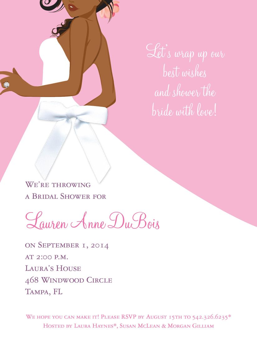 Bridal Side Pink African American with White Ribbon Invitations by ...