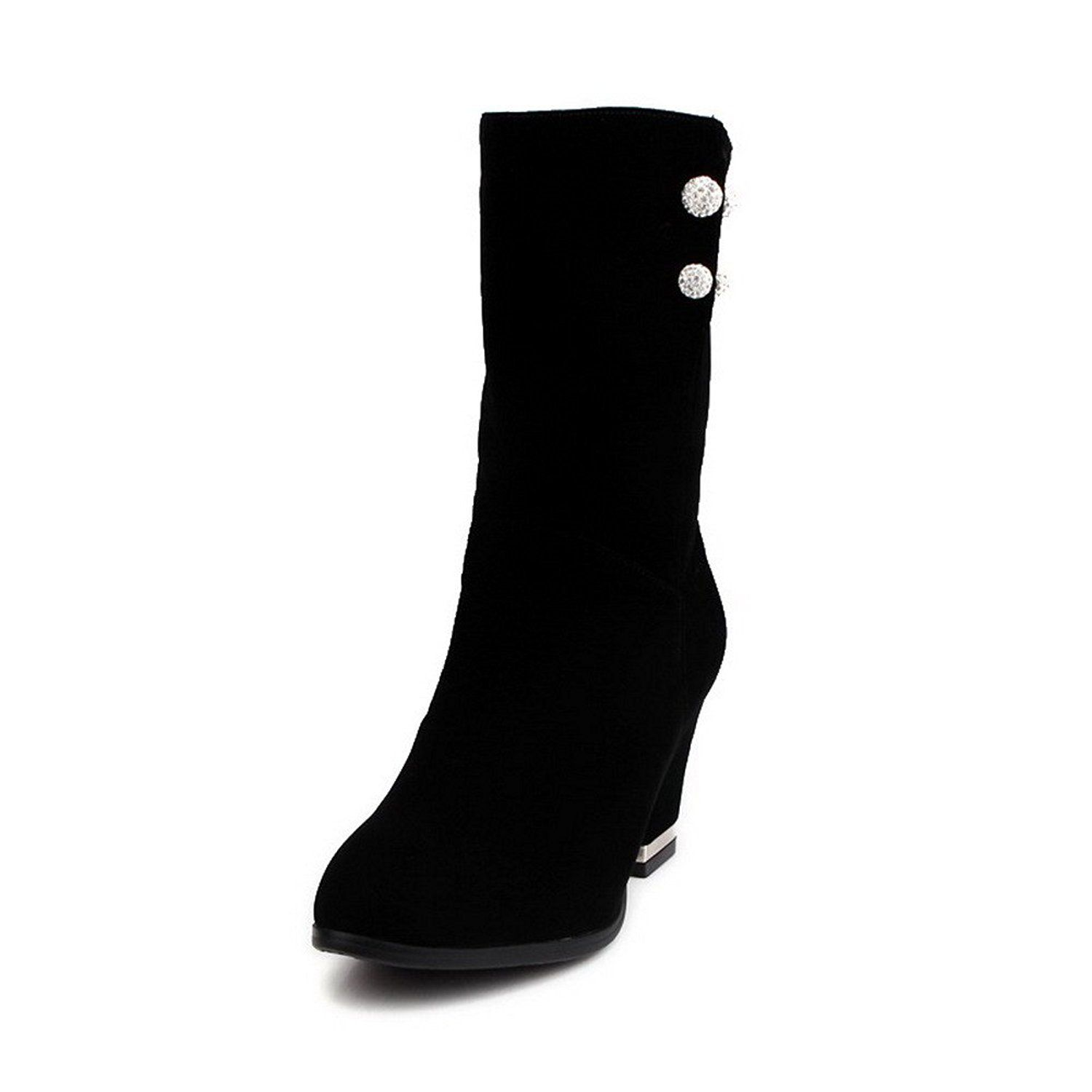 AmoonyFashion Women's Frosted Pull On Round Closed Toe High Heels Mid Top Boots * Check out the image by visiting the link.