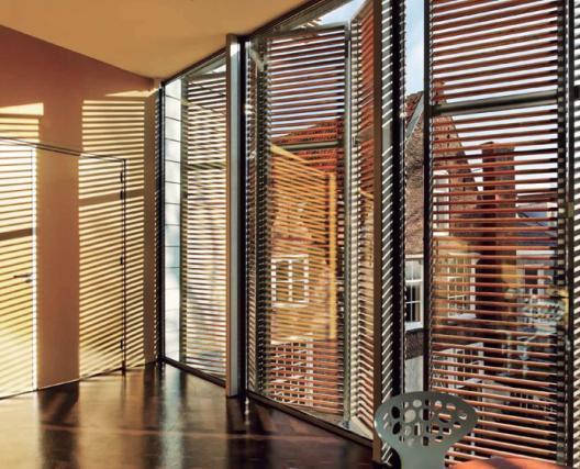 Control solar folding sliding shutters building - Hunter douglas interior shutters ...