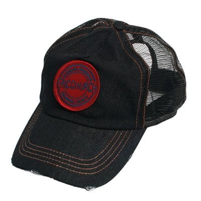 81544496439 Eric Church Carolina Products design on an embroidered patch sewn on a  denim trucker style baseball cap.