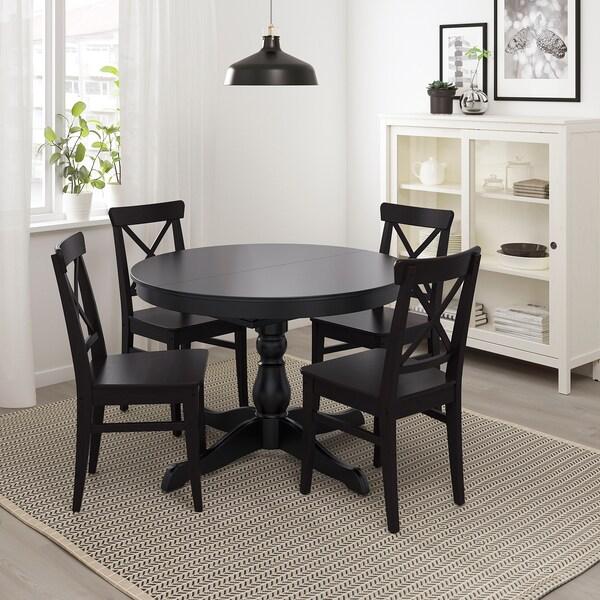 Ingatorp Extendable Table Black Max Length 61 Ikea Dining Table Black Black Round Dining Table Black Kitchen Table