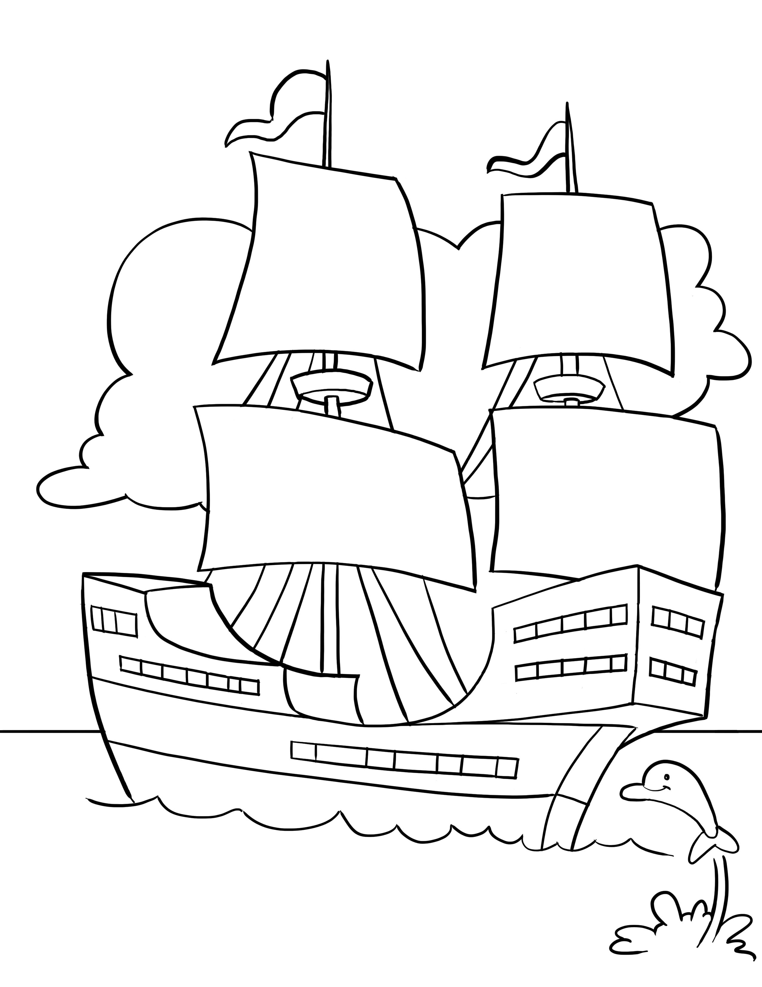 Thanksgiving Song and Free Printable Mayflower Coloring Page for ...