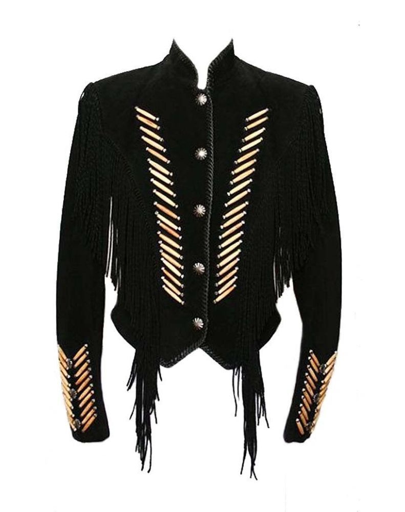 Women Western Suede Leather Wear Cow-Lady Fringe Vintage Vest Coat Jacket