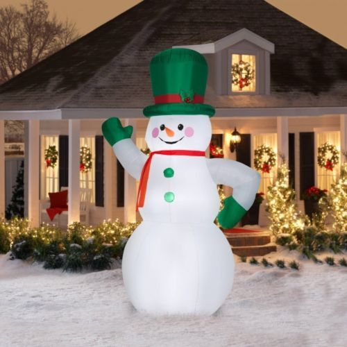 Christmas Outside Decoration Snowman Green Giant Inflatable 10Ft - inflatable outdoor christmas decorations