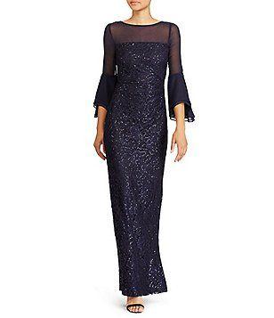 e58c60cf55244 Lauren Ralph Lauren Sequined Mesh Gown Formal Dresses For Women