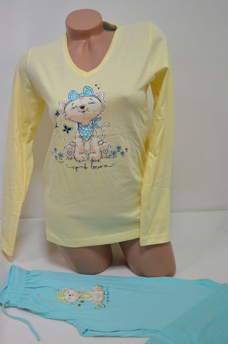 03c35b683ec Жълта памучна пижама комбинирана с електриков цвят, Онлайн магазин Моник