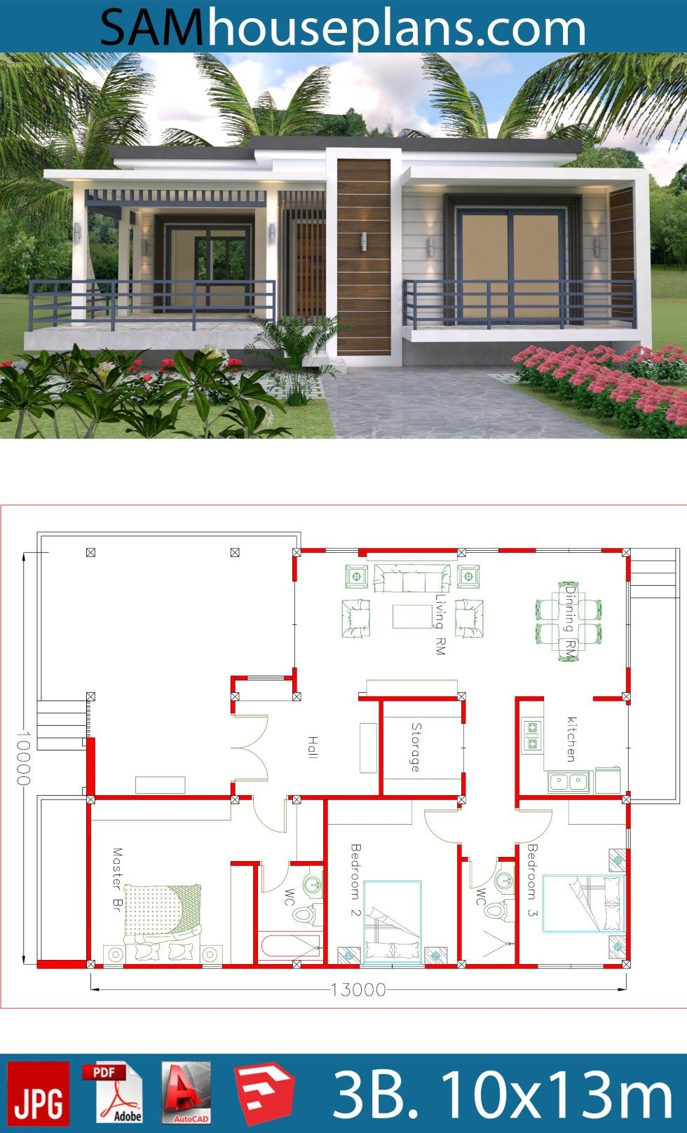 House Plans 10x13m With 3 Bedrooms Sam House Plans Small Modern House Plans My House Plans Beautiful House Plans