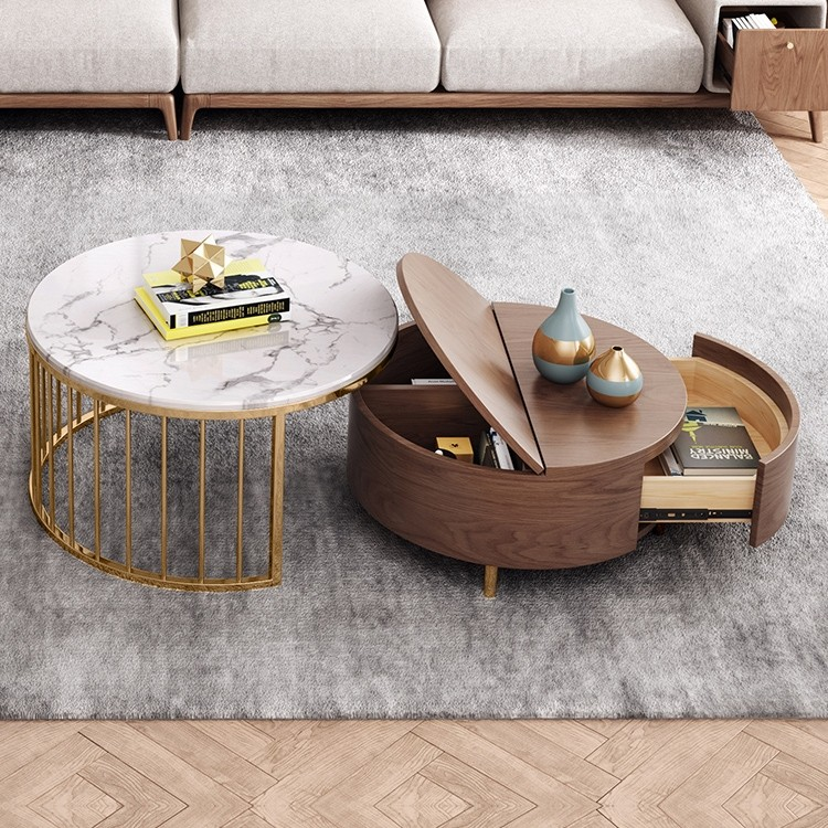 Modern White Walnut Round Coffee Table With Storage Wood