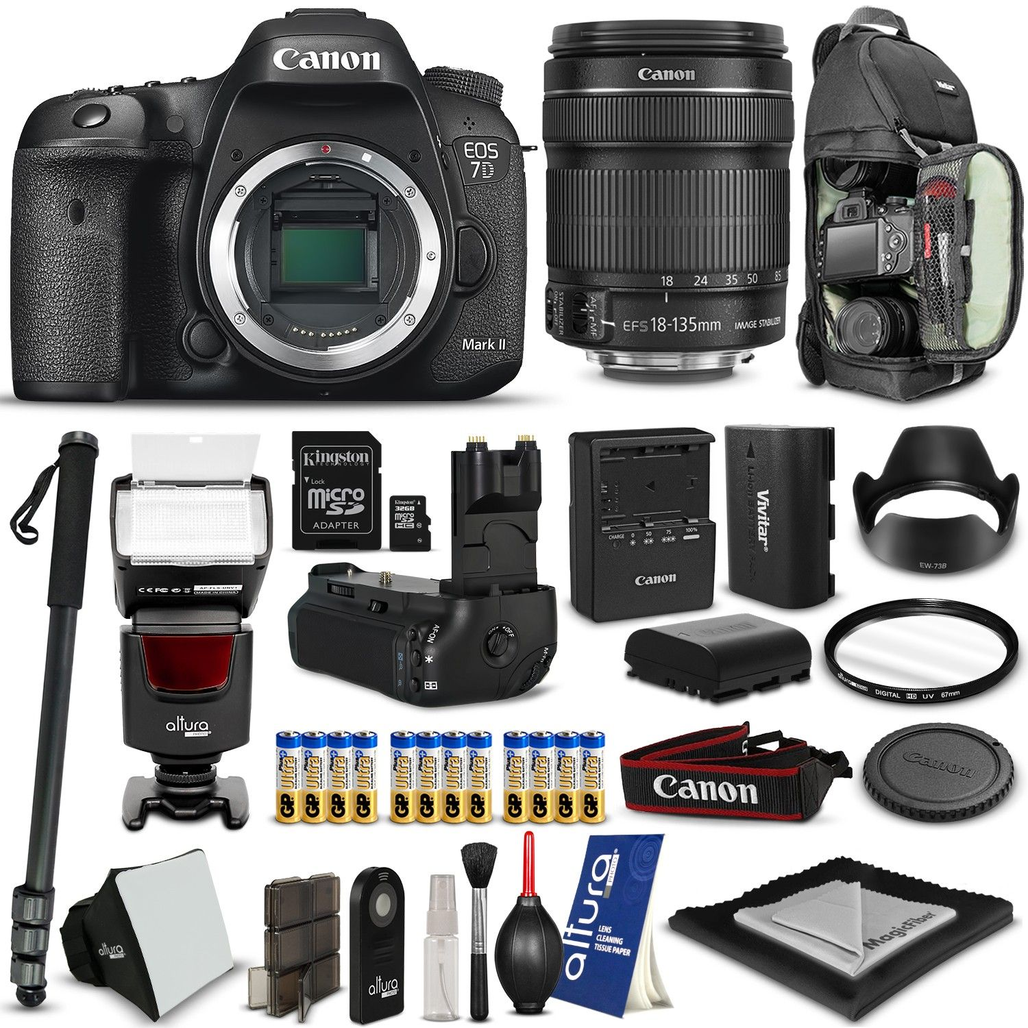 Canon Eos 7d Mark Ii 18 135mm Lens Free Backpack Amp Accessories Happy Deal Vivitar Battery Grip Camera Deals Canon Camera Canon Eos