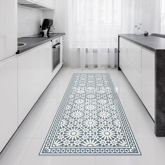 Vinyl Runner Rug Or Hallway Runner With Moroccan Tiles