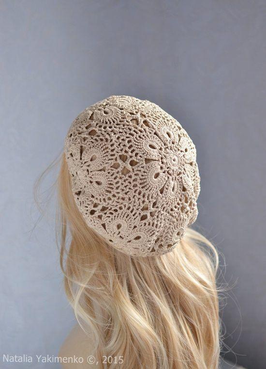 Crochet summer women\'s hat beret beige lace by NataliaYakimenko ...