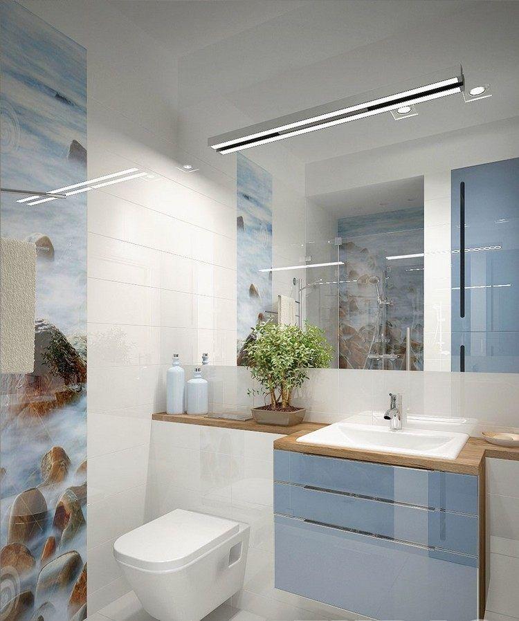 Badezimmer Ideen für kleine Bäder mit Fototapeten   Kleines badezimmer umgestalten, Badezimmer ...