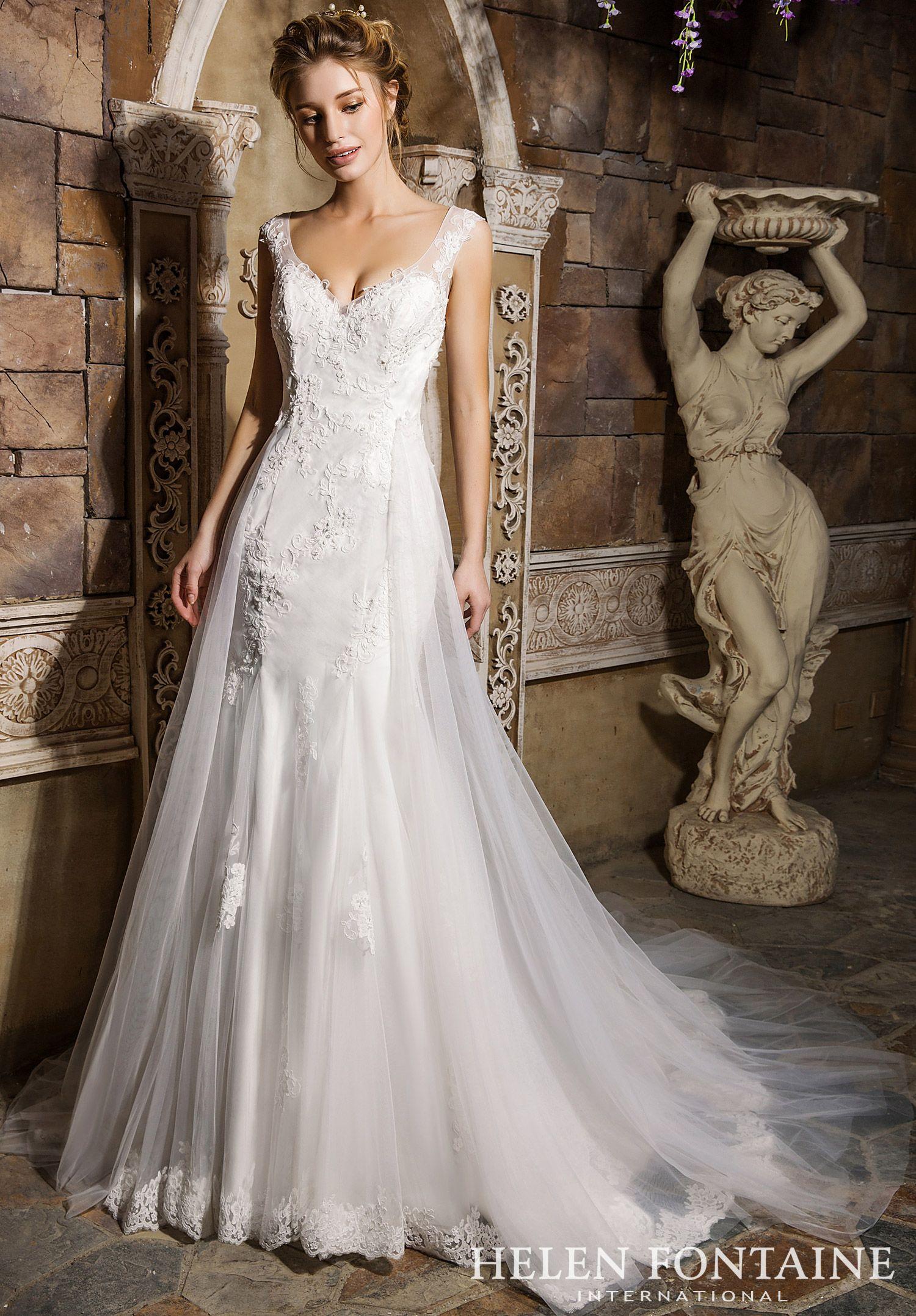 Helen Fontaine Style 2604 Wedding Dresses Under 500 Detachable Train Wedding Dress Wedding Dress Train