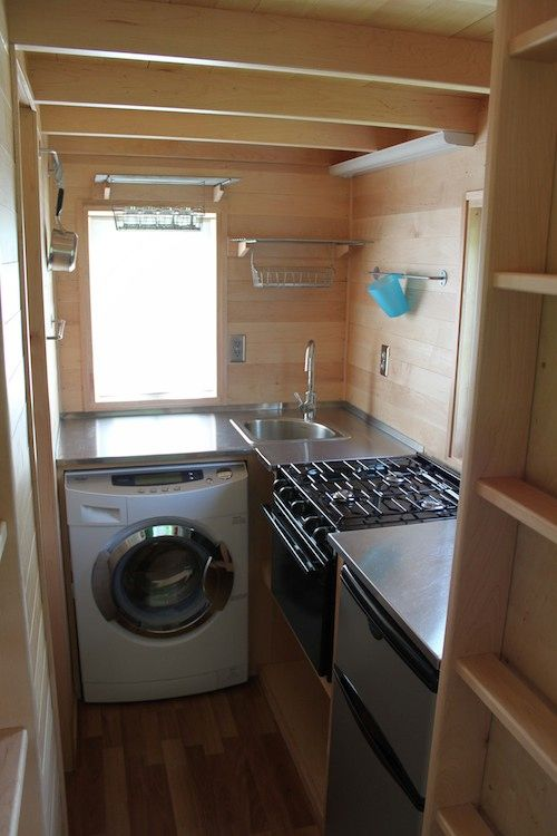 Tumbleweed Fencl Tiny House with Combo Washer Dryer | Tiny / mobile on mobile washer and dryer, mobile home kitchens, mobile home patios, mobile home fireplace, mobile home sink, mobile home bathrooms, mobile home ovens,