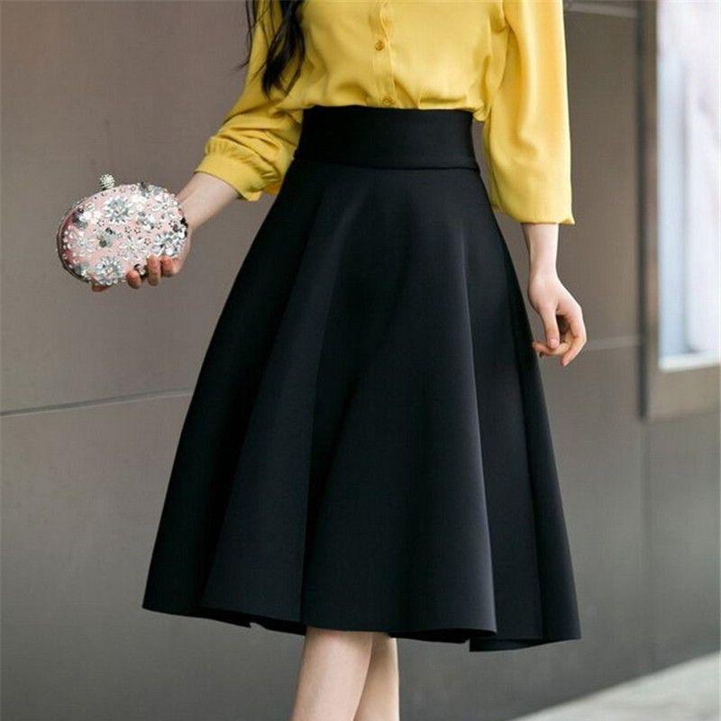 Plus M-6XL Womens High Waist Long Below Knee Elegant Pleated Skirts Blue Gray