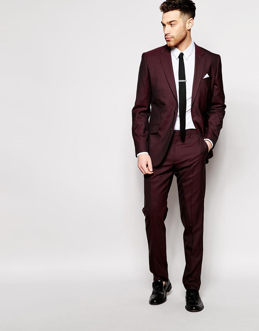 4d4296e990d Image 1 of Reiss Burgundy Tonic Suit In Tailored Fit | Things to ...