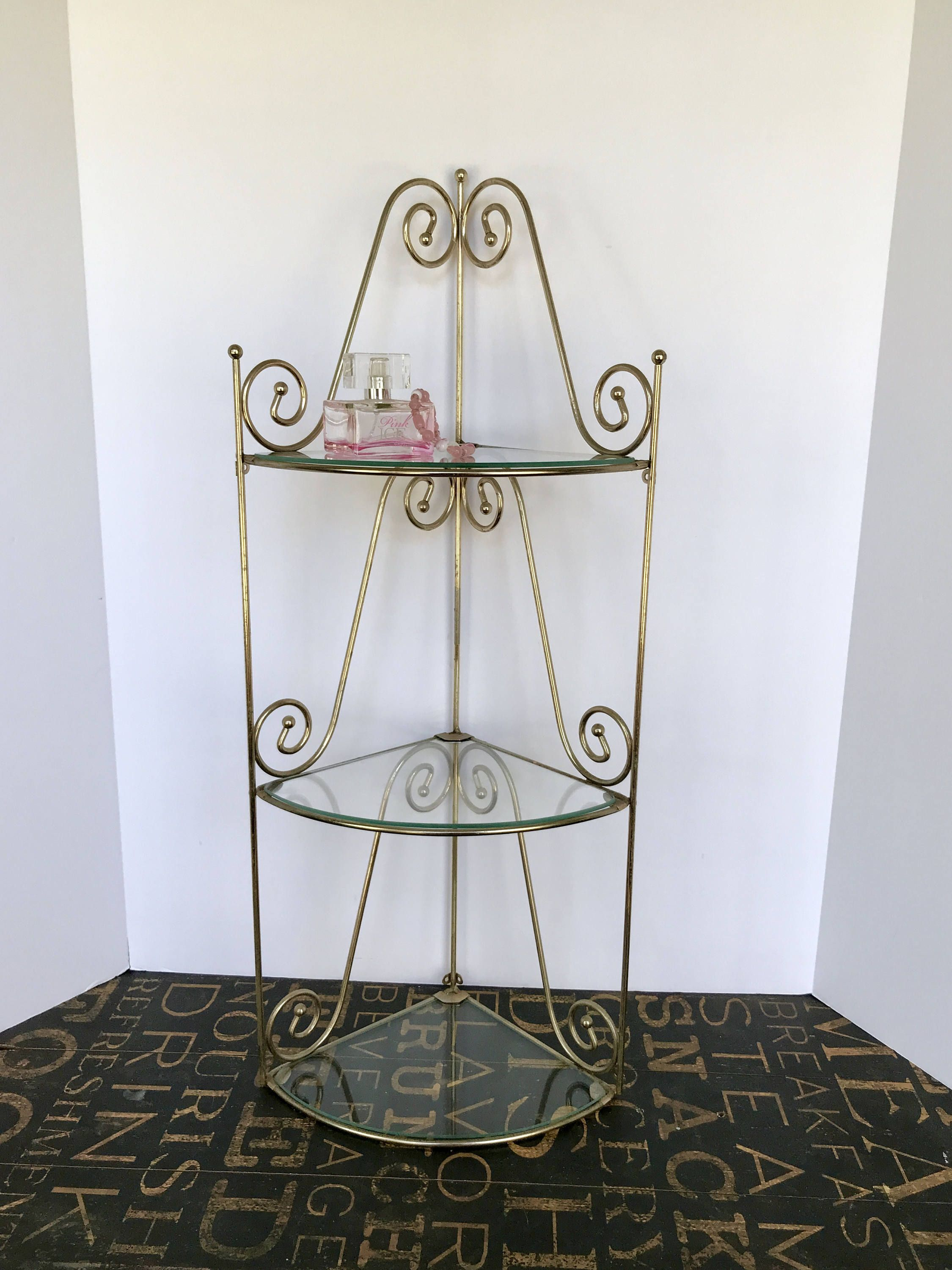 Vintage Three Tiered Gold Metal And Glass Corner Shelf Glass Corner Shelves Bathroom Decor Vanity Shelves
