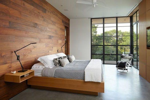 luxus schlafzimmer mit einer holzwand gestalten - schaffen sie, Schlafzimmer entwurf