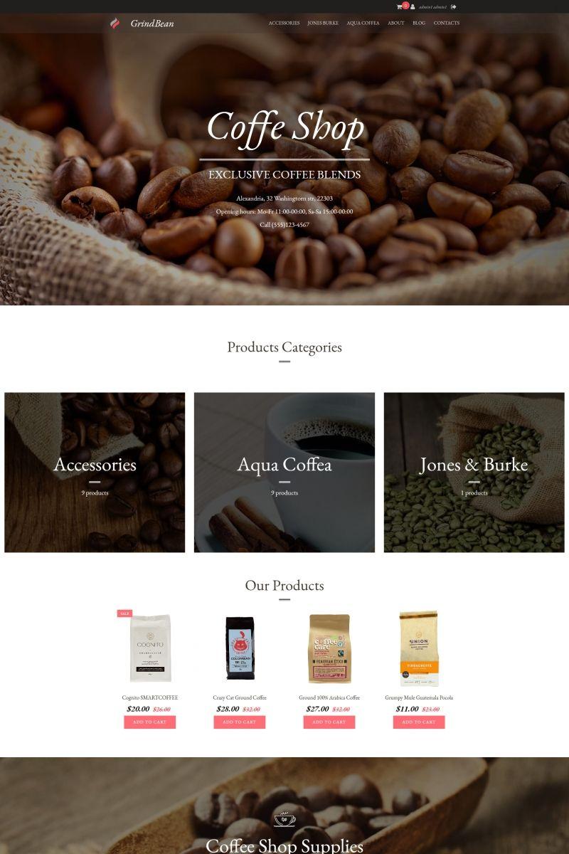 GrinddBean - Coffee Shop MotoCMS Ecommerce Template #65067