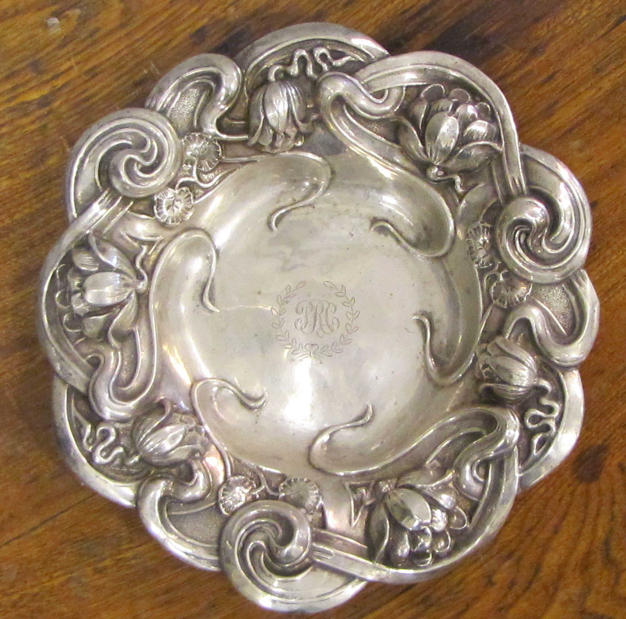 sterling silver repousse tidbit dish with lotus decoration silver pinterest jugendstil. Black Bedroom Furniture Sets. Home Design Ideas
