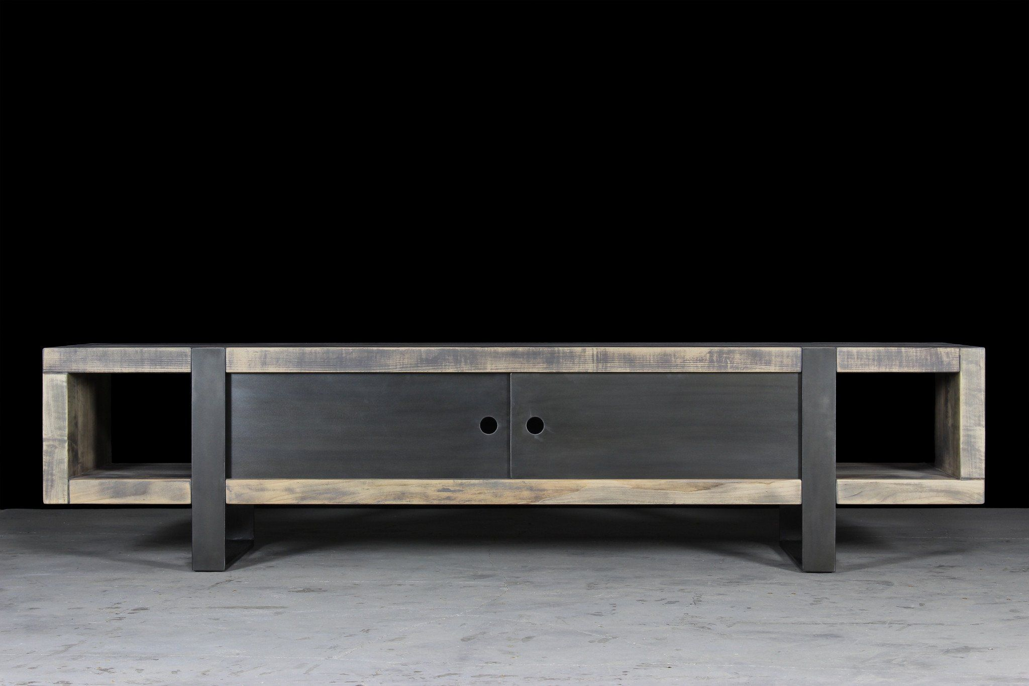 7 Media Console - Worn Maple Wood Finish With Waxed