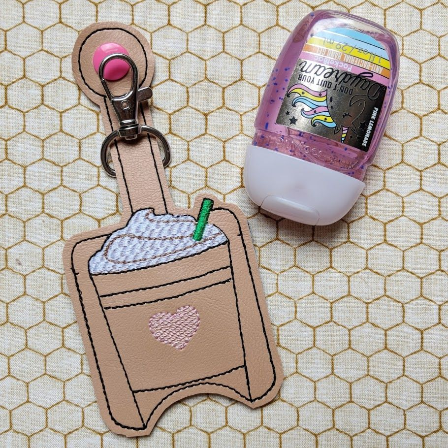 Iced Coffee Hand Sanitizer Holder Key Fob & Snap Tab