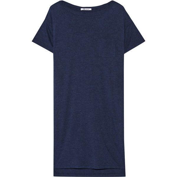 T by Alexander Wang Classic jersey mini dress (7.025 RUB) ❤ liked on Polyvore featuring dresses, navy, navy t shirt dress, tshirt dress, short blue dresses, t shirt dress and jersey t shirt dress