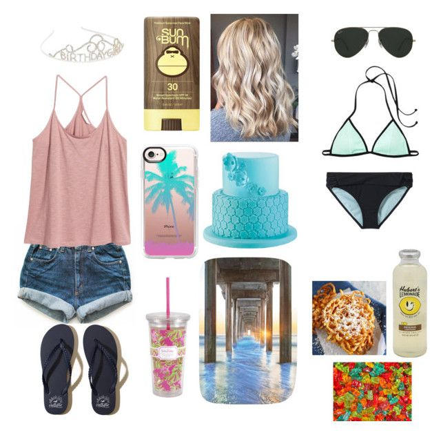 """""""Birthday at the Beach"""" by awesomejpf ❤ liked on Polyvore featuring Levi's, H&M, prAna, Hollister Co., Ray-Ban, Sun Bum, Casetify, Lilly Pulitzer, birthday and beach"""