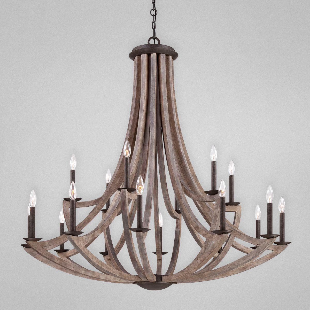 Aden Star Ltd LLC dba 1020 Decor Arcata Bronze Iron and Wood 18 – Wood Chandelier Lighting