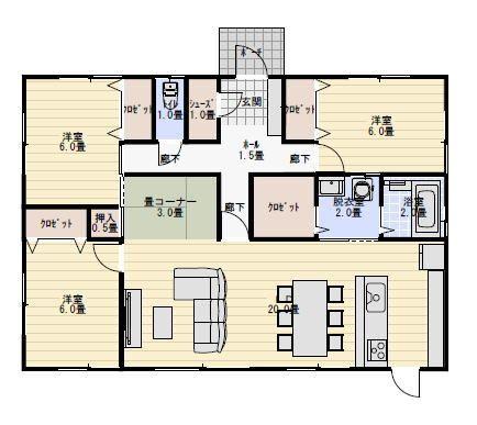 29坪4ldk畳コーナーのある平屋の間取り 平屋間取り 間取り 平屋