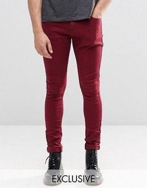 Burgundy stretch skinny jeans mens