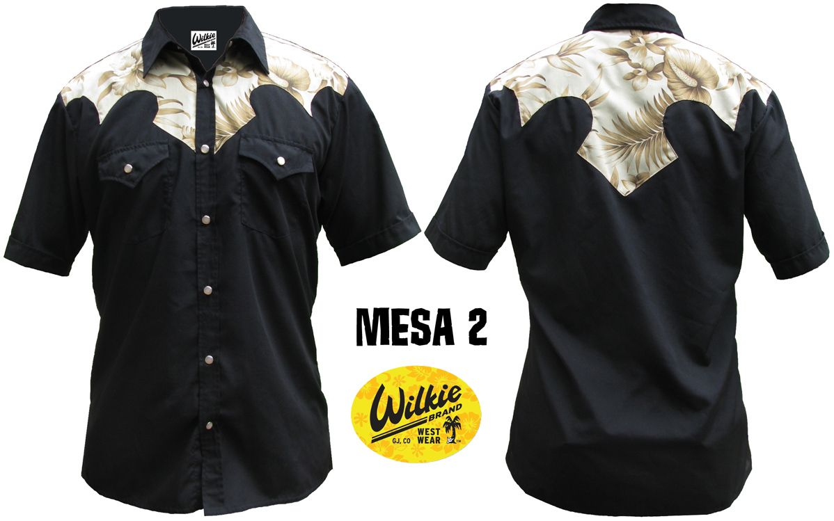 Mesa 2: Black shirt with Tan Hawaiian fabric yoke. Tan pearl snap buttons.