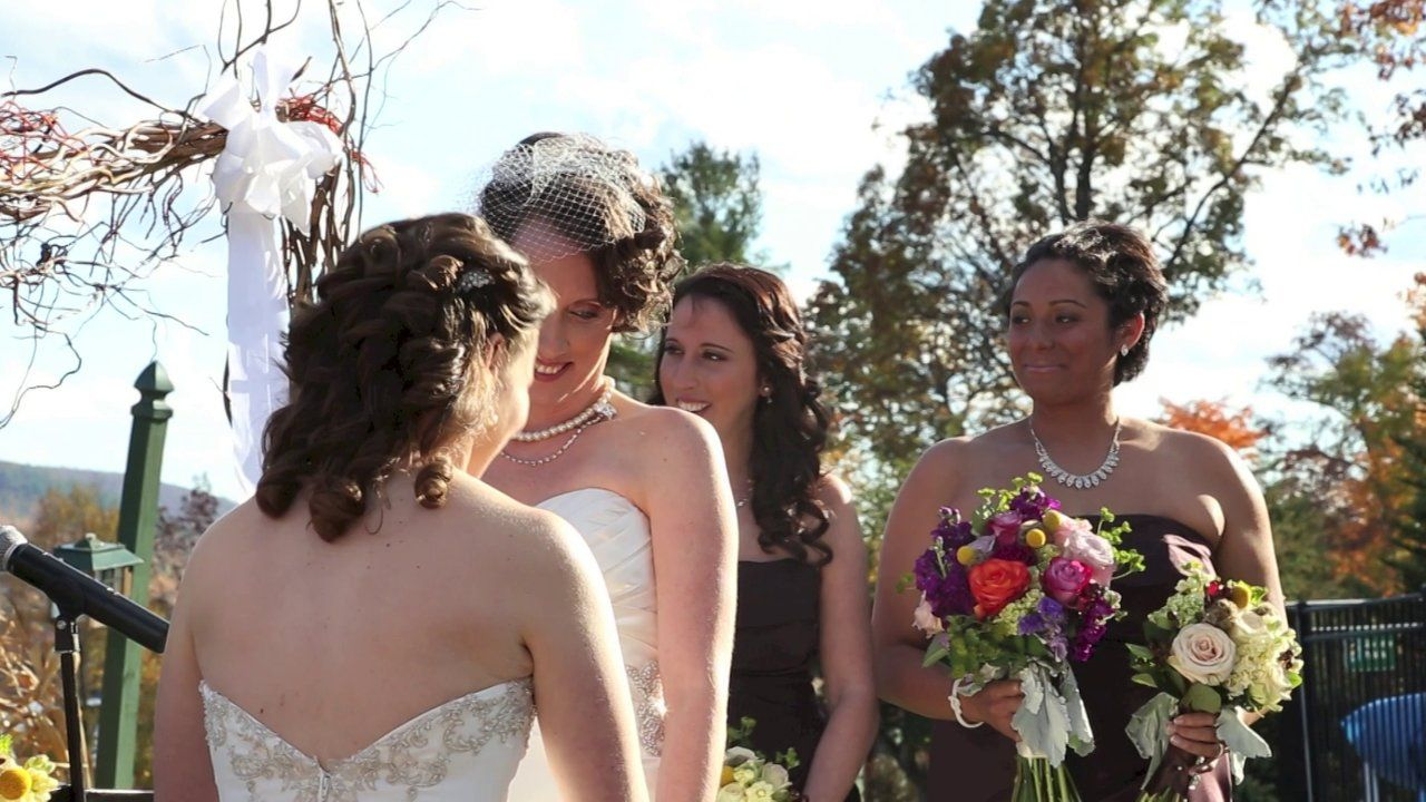 The Woman From The Cover Photo Of The New York Times Marriage Equality Article Ties The Knot In Lake George Lesbian Wedding Wedding Dresses Wedding