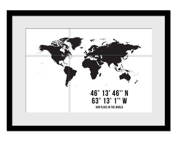 Gps Coordinates Art Print Personalized Map Customized