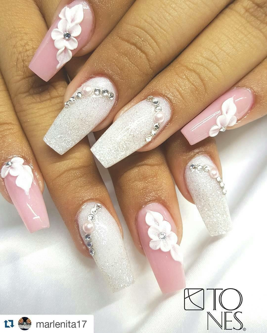 Pink Glitters Crystals And Flower Power Flower Nails 3d Nail